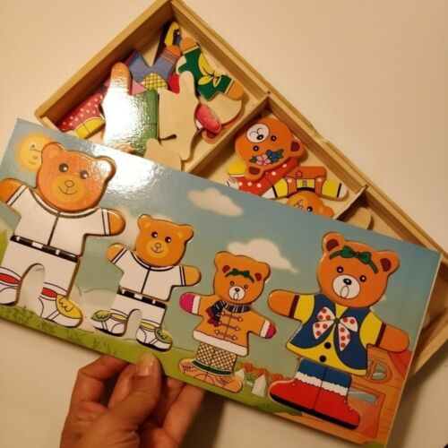 Wooden Baby Bear Changing Clothes Puzzle Set Kids Toy Dress Playing  Gift am8