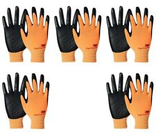 3m Thin Orange Work Gloves Nitrile Rubber Coated Grip Touch Screen Bulk 5 Pack