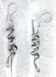 Pair Of Unique Solid Sterling .925 Silver Casted Cobra Snake Earrings SE13
