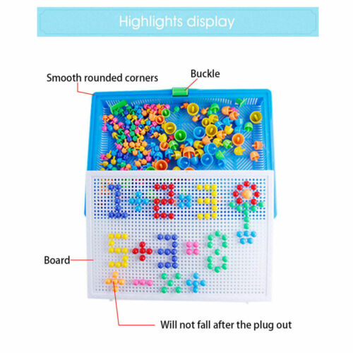 Children Kids Puzzle Peg Board 296 //592 Pegs Mosaic Early Educational Toy Gifts
