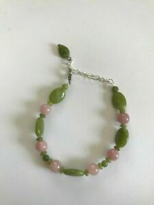 Pink-Aventurine-with-Connemara-Marble-Leaf-Beaded-Bracelet-Handmade-in-Ireland