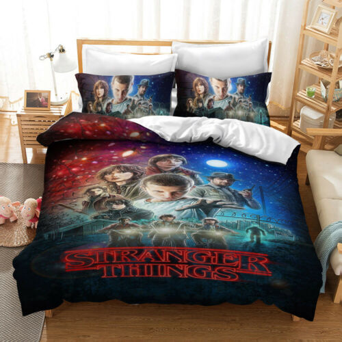 3D Stranger Things Pattern Bedding Set Kids Quilt Duvet Cover Pillowcase new100/%