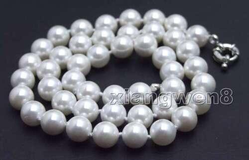"""12 mm Blanc Rond Coquillage Collier de perles pour femmes bijoux les colliers 17/"""" nec5036"""