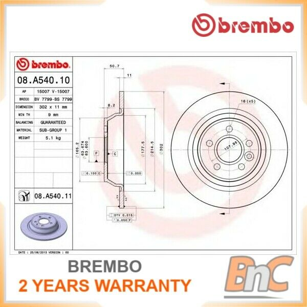 2x BREMBO REAR BRAKE DISC SET FORD LAND ROVER OEM 08A54011 1405500