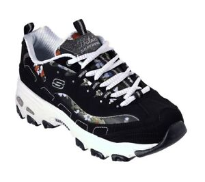 Chaussures Floral Noir Blanc Sportive Skechers Femme Lites D' vY8n8x1