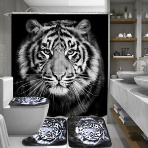 Tiger-Black-Printing-Bathroom-Shower-Curtain-Toilet-Cover-Mat-Non-Slip-Rug-Set
