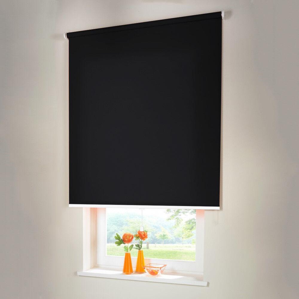 Sichtschutzrollo Mittelzugrollo Springrollo Rollo - Höhe 180 cm schwarz | Fuxin