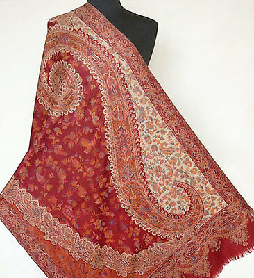 Red, Wool, Jamawar, Paisley Shawl. Kani Detail & Quality. Indian, Jamavar Stole