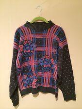 Sweater Petite Medium Tacky Cabin Creek Plaid Roses Neon Nerd Geek Bill Cosby