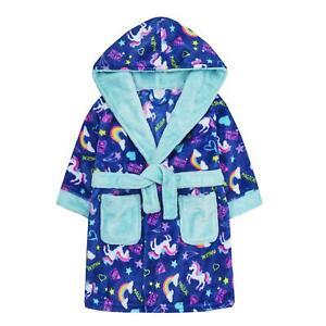 Childrens / Girls Bright Unicorn Print Fleece Dressing Gown ~ 2-13 Years