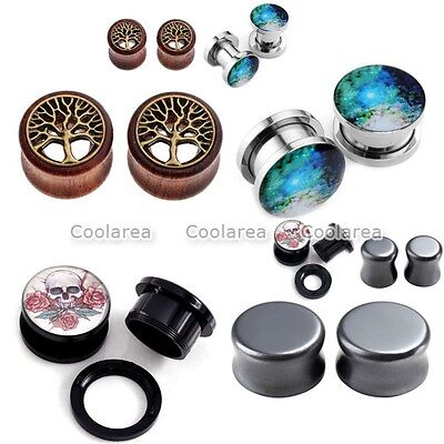 8pcs Acrylic Obsidian Wood Double Flared Stretcher Plugs Ear Tunnel Expander Set