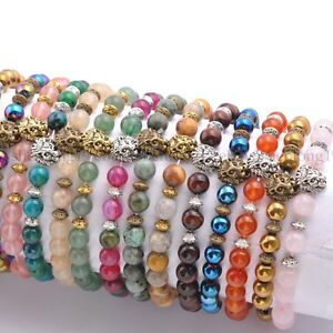 Natural-Gemstone-Round-Beads-Lion-Head-Stretchy-Bracelets-8MM-Assorted-Stones