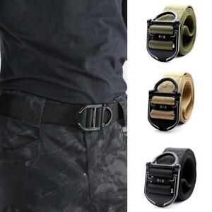 Men-Tactical-Belt-Adjustable-Heavy-Duty-Waist-Belt-Metal-Buckle-Nylon-Outdoor