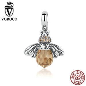 Voroco-Reina-de-las-abejas-S925-Fit-encanto-grano-de-plata-esterlina-colgante-con-CZ-Cristal
