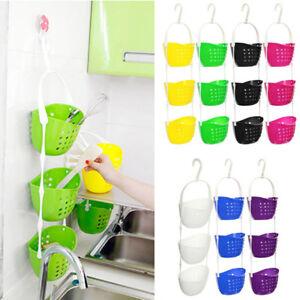 3-Tier Plastic Basket Shower Caddy Hanging Rack Tidy Shelf Organiser Storag O4M1