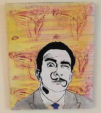 "Salvador Dali Melting Clock infinity Mustache Original Pop Graffiti Art 16"" 20"""