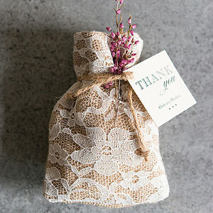Image Is Loading Rustic Chic Burlap And Lace Favor Bag Wedding