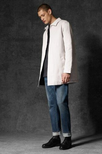 WAVEN @ TOPMAN Mens LEIF Mac Coat Pale Quilted Lined Pale Grey