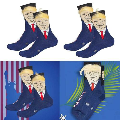 Trump Socks President Donald Trump Socks with 3D Fake Hair Crew Socks Unisex Uk