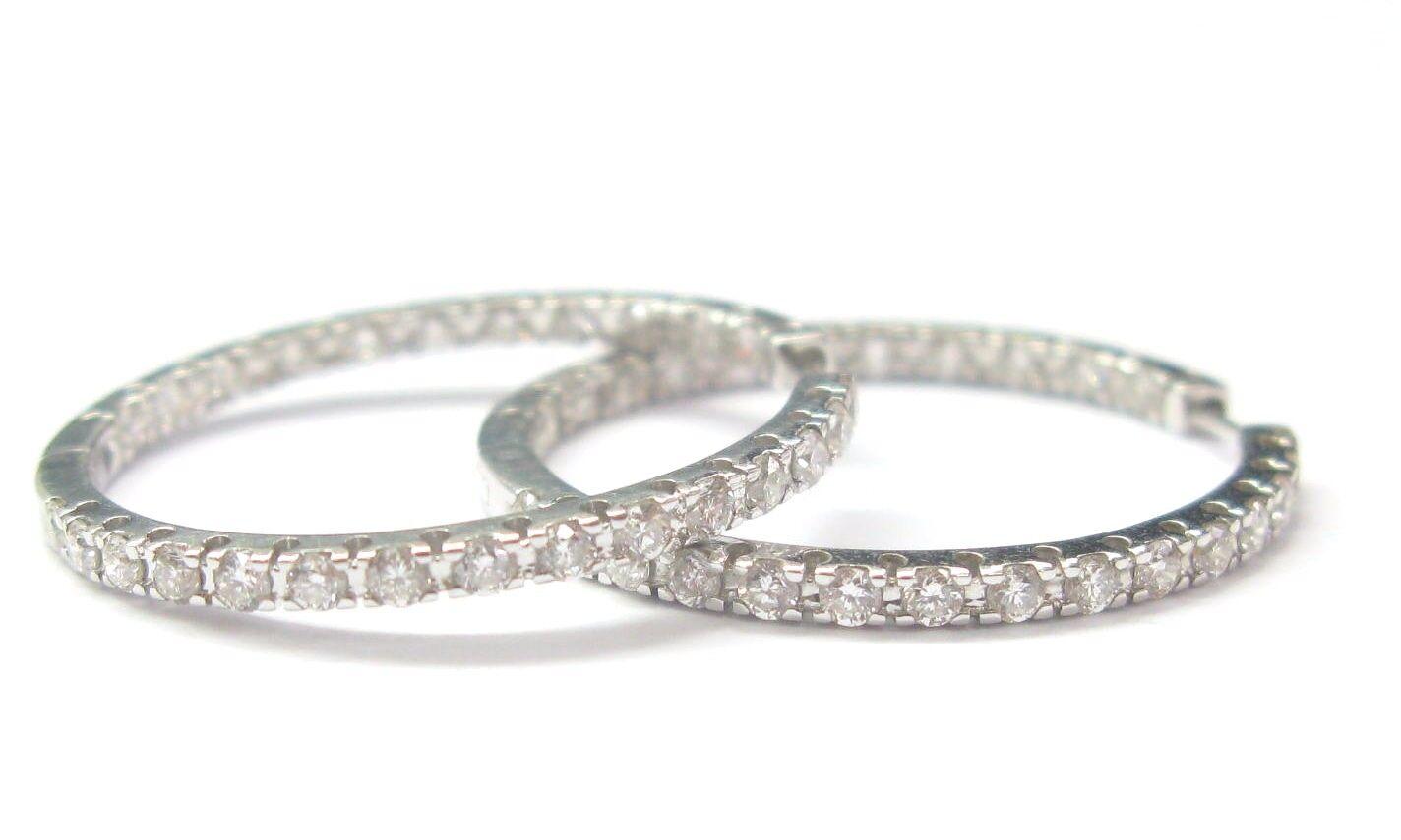 18Kt Inside Out Diamond Hoop Earrings White gold 1.70CT 1