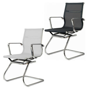 Details about Mesh Visitor Chair Aluminum Frame Modern Group Office Guest  Chair BLACK OR WHITE