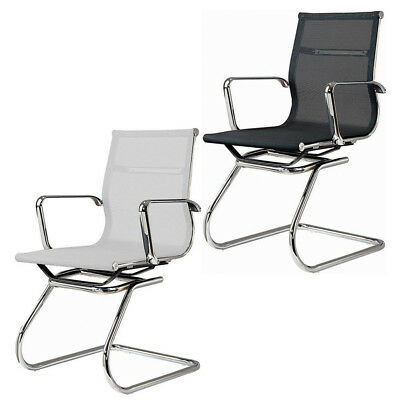 Ribbed Back Conference Chair Armless Modern Group Office Chair Aluminum Frame