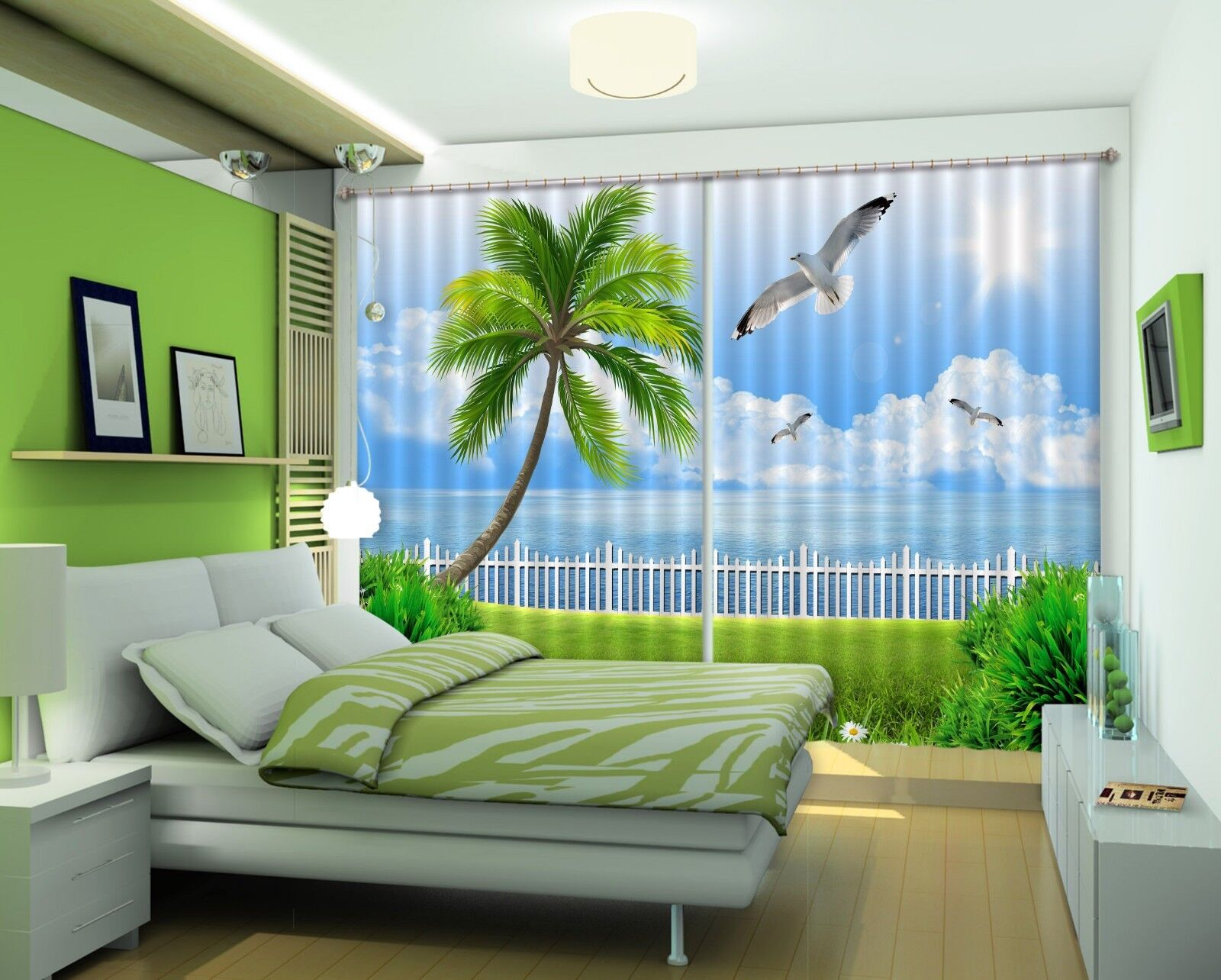 3D cielo de Palma Seagull 031 Cortinas de impresión de cortina de foto Blockout Cortinas nos Limón
