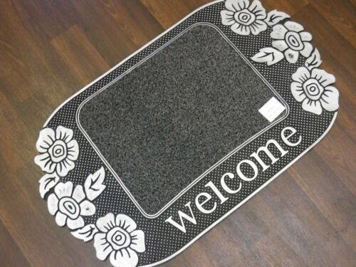 BARGAIN PRICE NEW NON SLIP RUBBER BACKING 45CMX75CM DOORMATS GREY//SILVER WELCOME