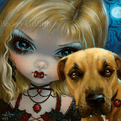 Fairy Faces 241 Jasmine Becket-Griffith art vampire pitbull SIGNED 6x6 PRINT