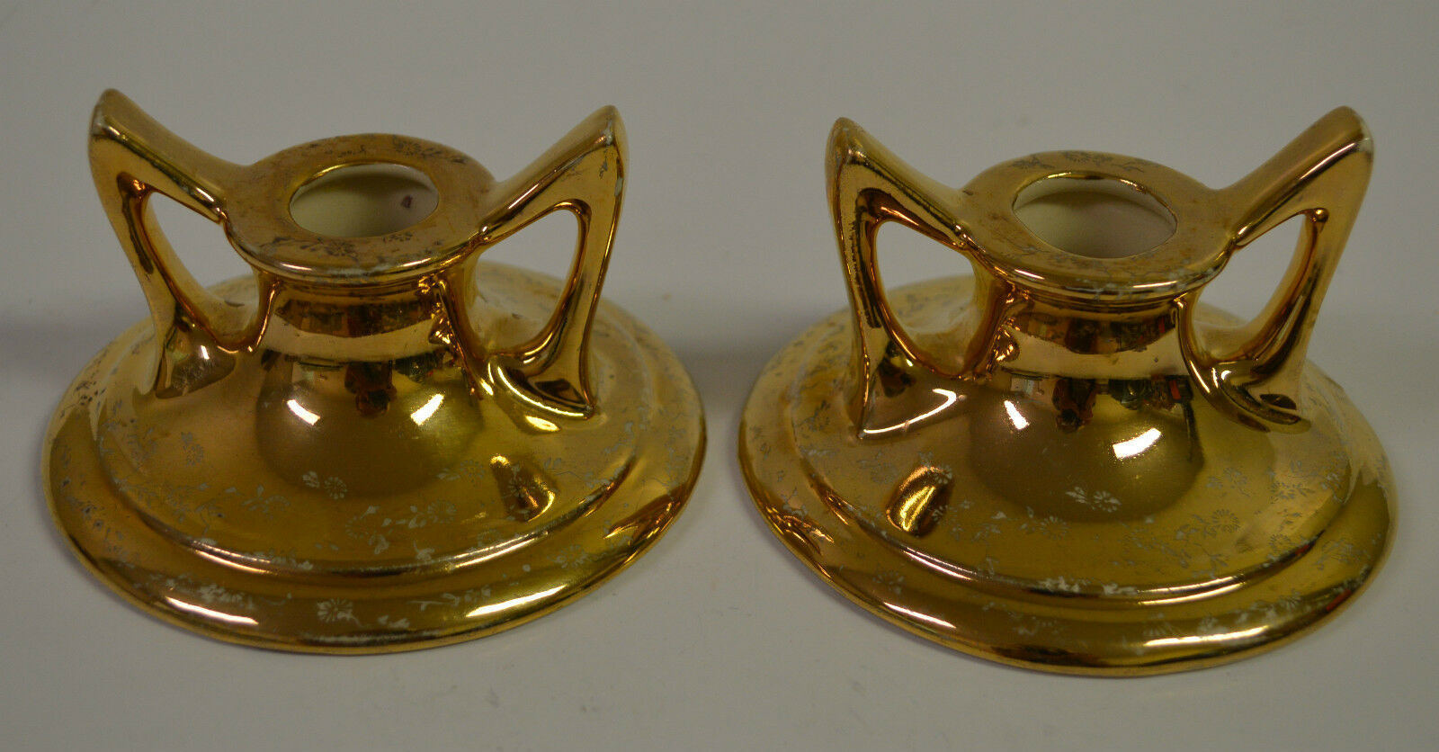 Candle Holder Pair gold with Flowers