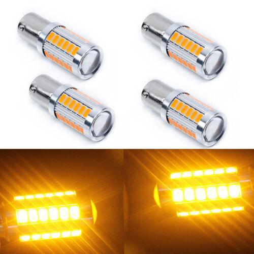 4 Pc Amber 1156PY BAU15S PY21W LED 33SMD Car Tail Turn Brake Reverse Signal Bulb