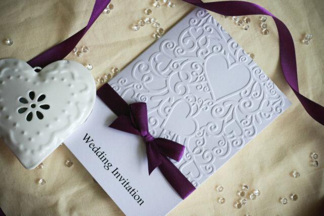 30 Wedding or Evening Invitations - Personalised - Handmade - Heart Embossed