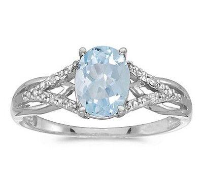 1.10CT Oval Genuine Aquamarine and Diamond Ring 10K White Gold