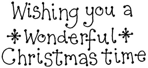 Wishing you a wonderful Christmas time bobbly font rubber stamp R5288
