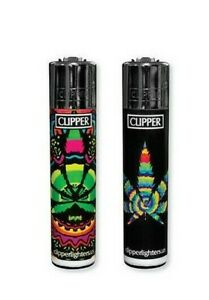 2-Ct-Full-Size-CLIPPER-Flint-Lighters-Refillable-ROTATIONAL-RAINBOW-LEAF-WEED
