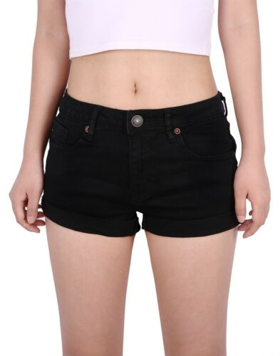 Women/'s Jean Shorts Mid Waist Casual Stretchy Denim Hot Pants