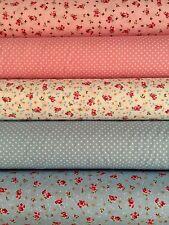 Rose & Hubble 5 Fat Quarter Bundle Pink Blue Floral Polka Dots Cotton Poplin
