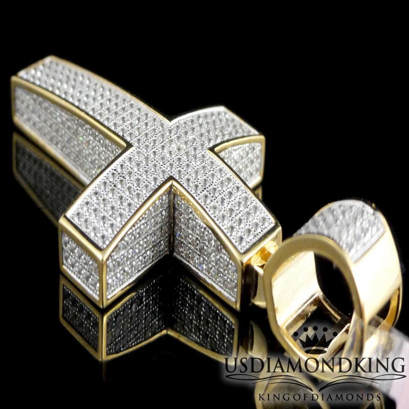 3D oro Giallo Finitura sopra argentoo Sterling Bicolore Bicolore Bicolore Ciondolo Croce 6cm 3b43c7