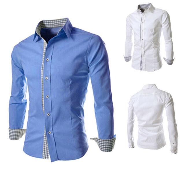 Casual Business Mens Luxury Shirts Stylish Slim Fit Long Sleeve Shirt Dress Tops