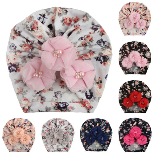 Newborn Toddler Baby Boys Girls Floral Turban Beanie Hat Cap Floral Bead Decor