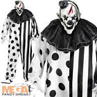 Adults Scary Black & White Killer Clown Halloween Fancy Dress Costume