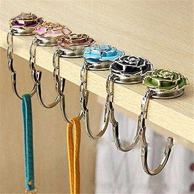 Folding Handbag//Purse//Bag Hanger Table Hook Hang Holder Rose Flower Shape R7Z2