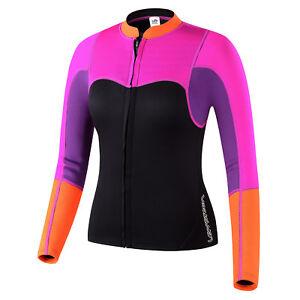 Womens-2mm-Neoprene-Long-Sleeve-Jacket-Front-Surfing-Zipper-Wetsuit-Top-US-Size