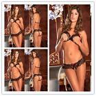 Sexy Lingerie Women's Bikini Lace Black Tie open cup Bra G-string Crotch hot P,