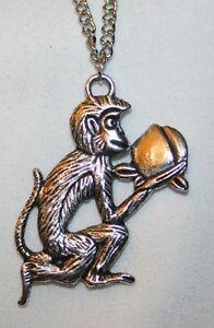 Delightful-Textured-Silvertone-Frolicking-Monkey-Pendant-Necklace