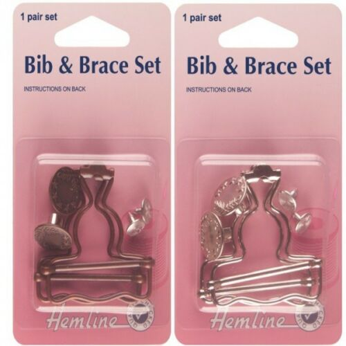 Hemline 40mm Bib and Brace Set 1 Pair In Bronze Or Silver Dungaree
