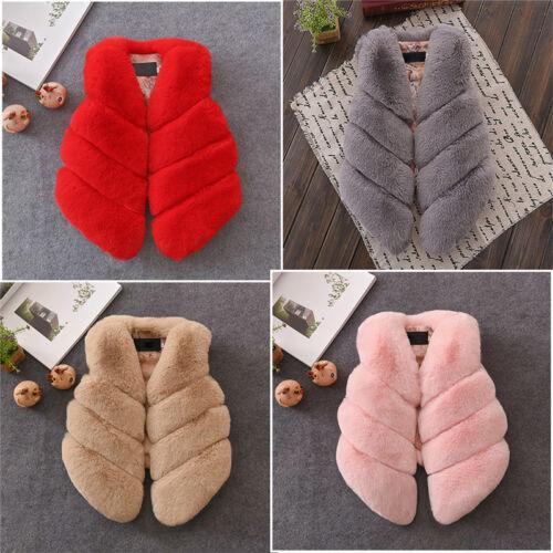Kids Faux Fur Gilet Vest Waistcoat Warm Wrap Shrug Jacket Coat Child Overcoat