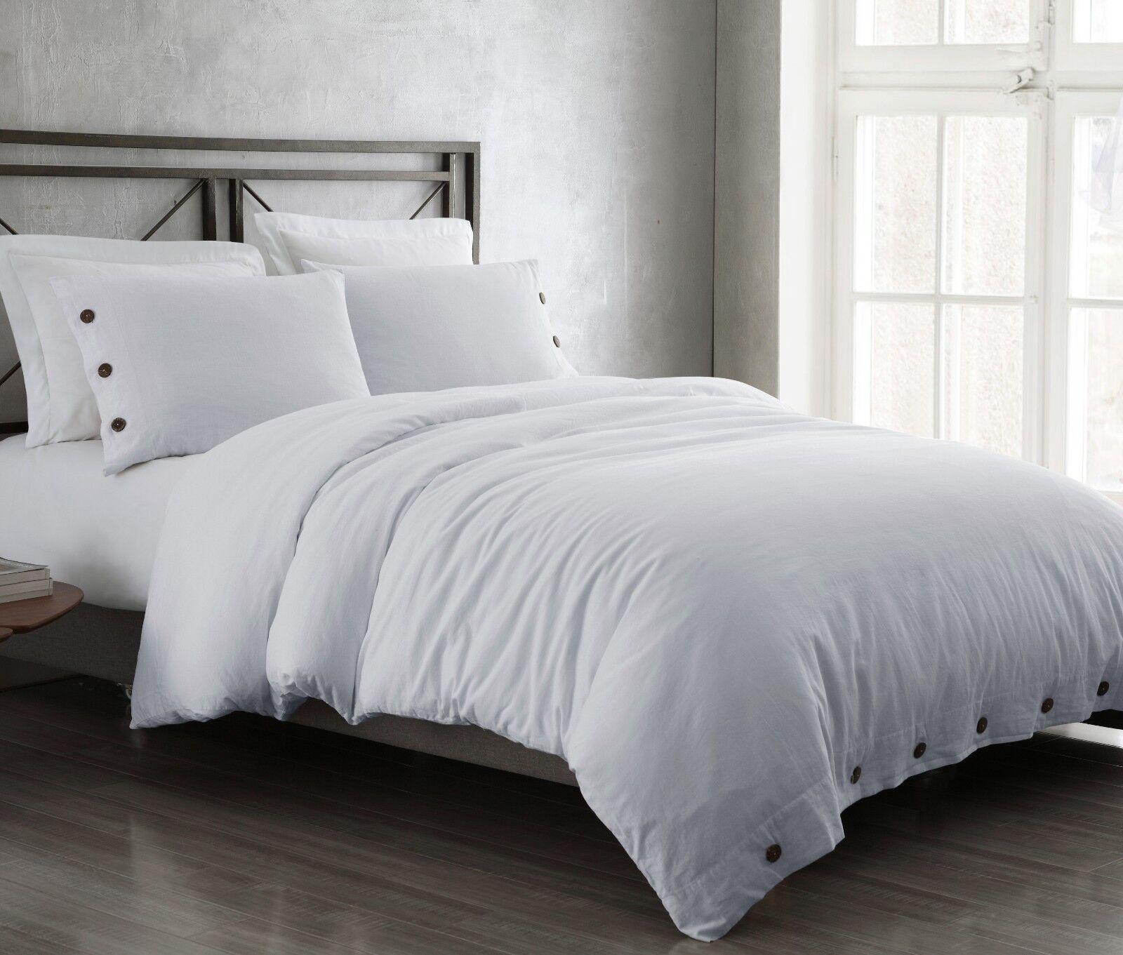 Reaction 3pc White Duvet Set Linen  Cotton Fabric Bedding Texture Bed Cover Set