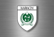 Sticker decal souvenir car coat of arms shield city flag karachi pakistan