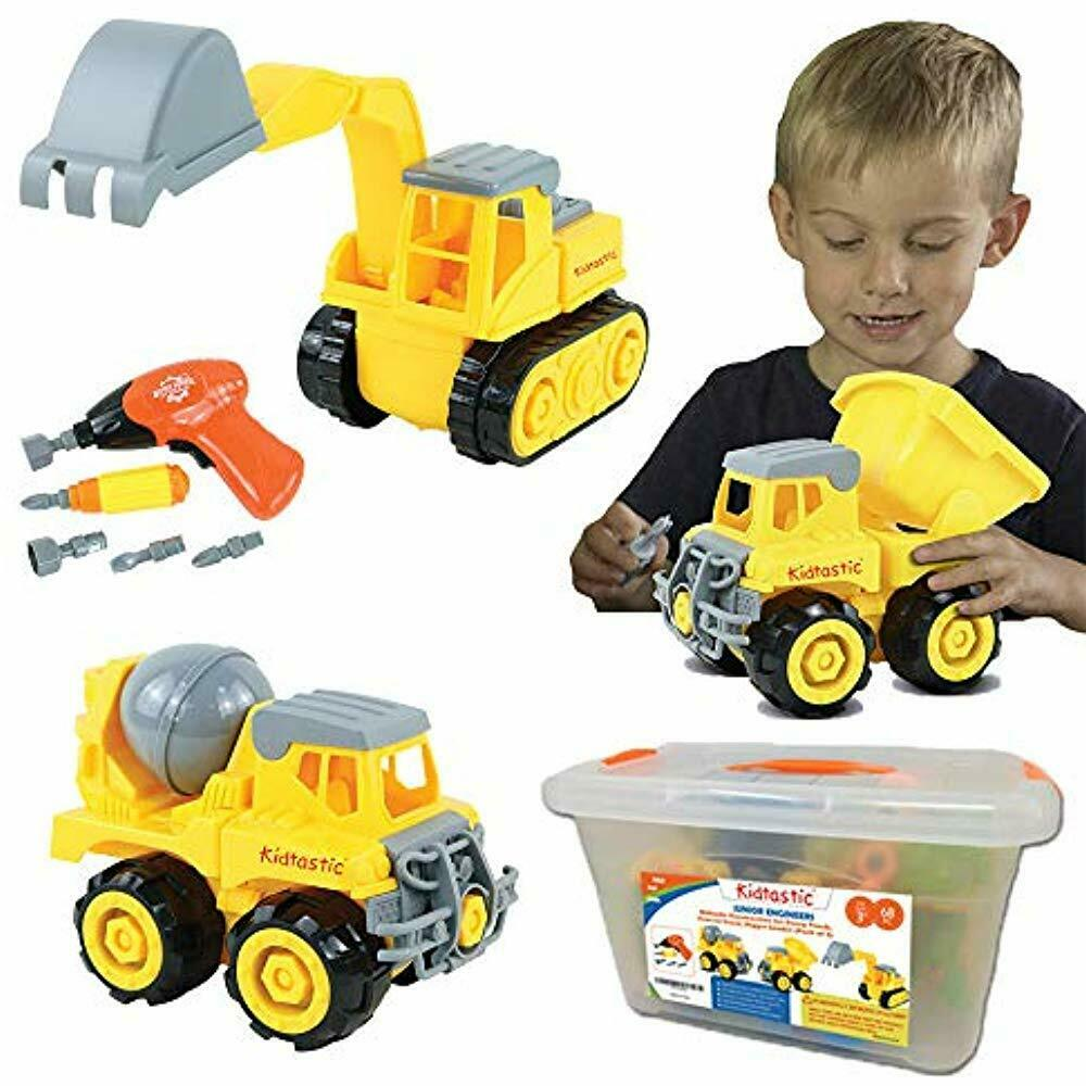 Kidtastic Construction Vehicle Playsets Vehicles, STEM Learning (Set 68 Piece)